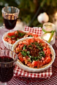 Minced meat pie with tomato salad for Christmas (Sweden)