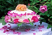 A cream cake decorated with roses on a garden table