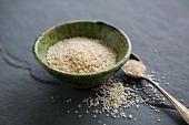 Sesame seed in a ceramic bowl