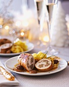 Turkey roulade with chestnuts and tagliatelle (Christmas)
