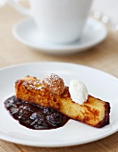 French Toast Stick with Blueberry Compote and Ice Cream