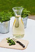 Woodruff and a carafe of white wine