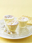 Three lemon souffles on a tray