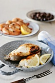 Grilled squid stuffed with feta cheese