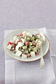 Radish salad with cucumber, quark and herbs