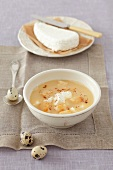 Beer soup with egg yolk, quark, croutons and cinnamon for Easter