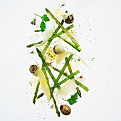 Asparagus salad with quail's eggs and Parmesan cheese