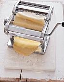 Pasta dough in a pasta maker