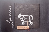 A sketch of a lamb and a written label and writing on a chalkboard
