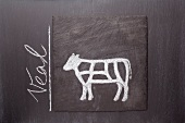 A sketch of a calf on a chalkboard