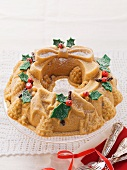 A Christmas wreath cake