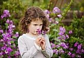 A little girl smelling flowers in a garden