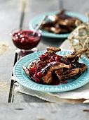 Roast quail with cherry sauce