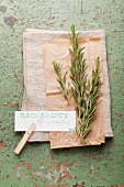 Fresh rosemary with a label
