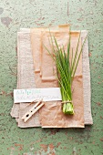 Fresh chives with a label