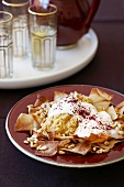 Chickpea purée with feta cheese chips and yogurt
