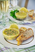 Potted shrimps with bread (England)