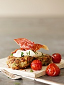 Potato cakes with Parma ham and creme fraiche
