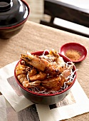 Fried prawns on fried glass noodles