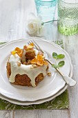 Carrot and walnut cake with white chocolate icing
