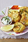 Courgettes in batter with a courgette dip