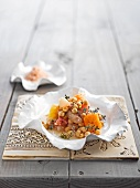 Chickpea salad with citrus fruits