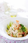 Linguine with king prawns and cream sauce