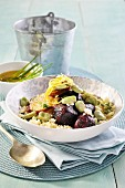 Couscous with beetroot and sweet potato salad