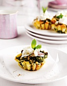 Spinach and feta tartlets with yoghurt topping