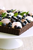 A chocolate tart with five flavours of ice cream and blueberries