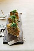 Italian pasta bake with asparagus, peas and mozzarella