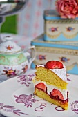 A slice of Victoria Sponge Cake for a Jubilee party (England)