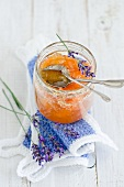 Melon jam with lavender flowers