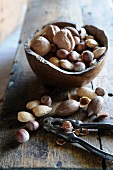 A variety of nuts with a wooden bowl and a nutcracker