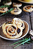 Savoury nut whirls with olives