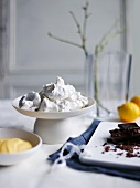Meringues, lemon curd and chocolate