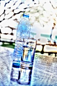 A bottle of water and a glass of water on a table