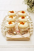 Cheesecakes with Bailey's cream in silvered glass cups