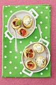 Stuffed potatoes filled with herb cream cheese and ham