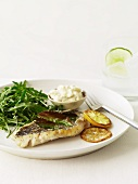 Fish Fillet with Lemon Slices and Greens