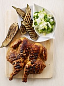 Grilled chicken with grilled aubergines and a side salad
