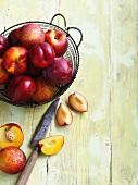 Sliced fruit on wooden board