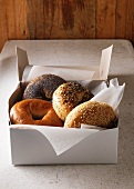 Box of various bagels