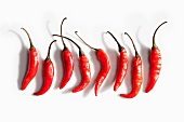Eight Red Chili Peppers on a White Background