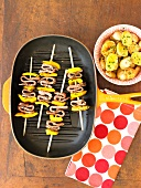 Beef and Yellow Pepper Kabobs with Roasted Potatoes