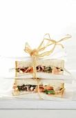 A salmon, caper and mozzarella sandwich
