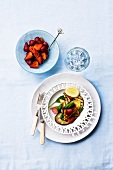 Chargrilled aubergine with halloumi and strawberries