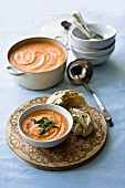 Cream of tomato soup with mint