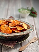 Sweet potato crisps with herbs and salt
