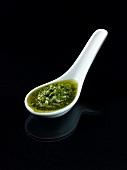Pesto on spoon